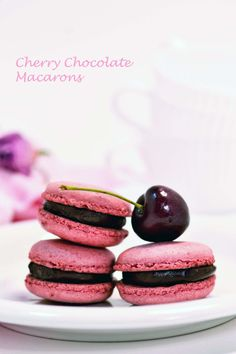Cherry with Chocolate Macarons