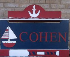 NAUTICAL SAILBOAT Custom Toy Chest Toy Box  Toy by OurLittleMan, $239.00