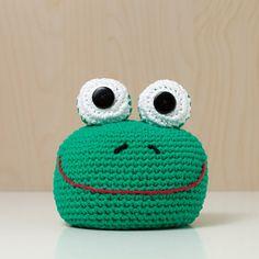 Türstopper gehäkelt Tierkopf Frosch grün niedlich von MJUKstore