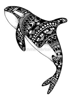 Black and white killer whale design filled with patterns • Buy this artwork on apparel, kids clothes, stickers, and more.