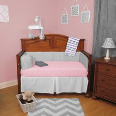 ABC Pink and Gray Chevron Zigzag with Dots 4-piece Crib Bedding Set