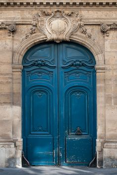 Paris Photography & The Blue Door, Ornate, Architectural Fine Art Photograph, Urban Home Decor p Paris photographie la porte bleue orn e architecturale Fine Art photo d cor urbain la maison p Cool Doors, The Doors, Entrance Doors, Windows And Doors, Doorway, Porte Cochere, Beautiful Front Doors, Unique Doors, Casa Santa Rita