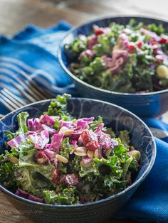 Kale and Cabbage Salad - This salad is fresh, tasty, healthy and keeps beautifully! The best part is that it has so much going on, it easily makes a satisfying meal. Full of nutrient dense kale and cabbage, pumpkin seeds and dried cranberries, you can really sink your teeth into this one.