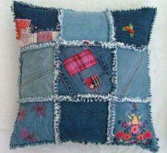 blue jean rag pillow
