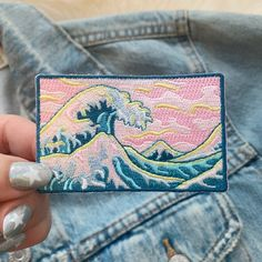 handmade Eat The Rich patch repurposed denim patch Custom upcycled denim sew-on patch