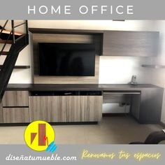 😁Cliente Feliz trabajando cómodamente desde Casa.. Home Office a la medida. 😎 📲(+58) 305 813 3893 Home Office, Flat Screen, Happy, Home, Custom Furniture, Vintage Decor, Shelving Brackets, Desktop, Closets