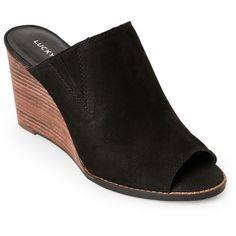 Lucky Brand Black Jillah Peep Toe Wedge Mules ($60) ❤ liked on Polyvore featuring shoes, black, black slip on shoes, black mules shoes, slip on shoes, slip-on shoes and mule shoes