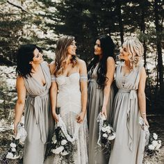 Love the light Grey Bridesmaids Dresses with the MOH in a shade darker grey than the rest!