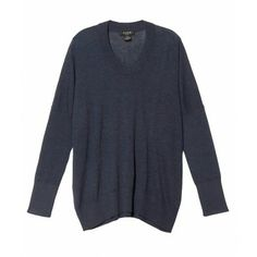 Long sleeve crew neck oversizes sweater with drop sleeves. 27'' shoulder to hem. 100% Cashmere. Dry Clean. Imported. Sizes P-M. Model wears size P. Color: Blue Heather