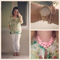 White jeans and floral chiffon