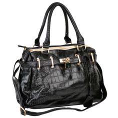TAIT Faux Crocodile Print Top Double Handle Bowler Office Tote Satchel Hobo Handbag Purse Shoulder Bag