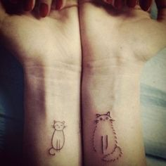 Cat tattoos @Samantha Perez -I know you only want a couple tattoos, but these are cute.!  | followpics.co