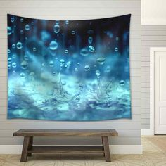 wall26 Close Up Rain Water Drop Falling to the Floor Tapestry 68x80... ($40) ❤ liked on Polyvore featuring home, home improvement, grey, home & living, home décor, wall décor and wall hangings