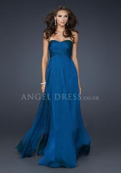 A line Sweetheart Sleeveless Empire Floor Length Chiffon Prom Gowns