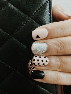 Polka dot, nail art, pink nails, heart nails