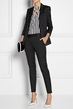 Women Clothing 1 bussines clothes black pants suit women business small black bag striped elegant shirt high fashion shoes Women Clothing Source : 1 bussines kleidung schwarzer hosenanzug damen business kleine schwarze tasche g. Classy Work Outfits, Work Casual, Stylish Outfits, Classy Casual, Sophisticated Outfits, Classy Outfits For Women, Classy Clothes, Ootd Classy, Classy Suits
