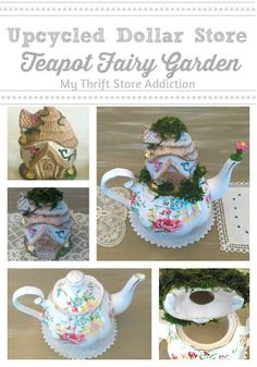 Create an adorable teapot fairy garden crafted with upcycled dollar store supplies!