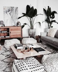 black and white bohemian living room with lots of different patterns and textures