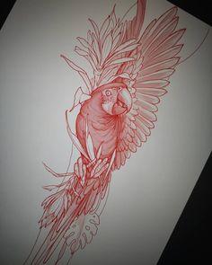 Tattoo Sketches, Tattoo Drawings, Body Art Tattoos, Sleeve Tattoos, Tattoo Outline Drawing, Pheonix Drawing, Parrot Tattoo, Oriental Tattoo, Tattoo Stencils