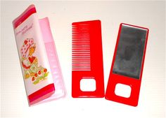 vintage super kawaii hair set with comb & mirror pocket for bag unused from store in plastic mint