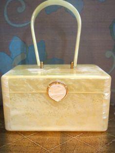 Vintage Wilardy Lucite Purse/ 1950's Yellow by cotillionvintage, $65.00