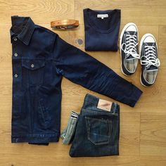 a nice outfit for the smooth saturday. type trucker denim jacket, rgt oz sk tinted weft, merzbeimschwanen 213 army t-shirt ink blue, converse chuck ox, nudie belt. Nudie Jeans, Denim And Co, Look Fashion, Mens Fashion, Outfit Grid, Mens Style Guide, Business Casual Outfits, Mode Outfits, Mode Style
