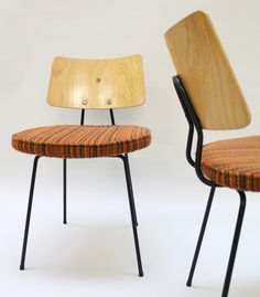 Robin Day; Enameled Metal and Oak Plywood Sidechairs for Hille, 1950s.