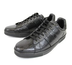 17d2e98cdd7 Authentic Gucci Mens Black Gg Imprime Lace-Up Trainer Sneaker