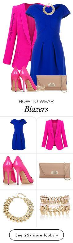 """~ Pink & Blue ~"" by pretty-fashion-designs on Polyvore featuring Roland Mouret, Oscar de la Renta, Jimmy Choo, Christian Louboutin, River Island, women's clothing, women's fashion, women, female and woman"