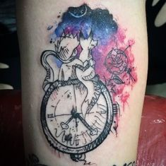 Charismatic Watercolor Little Prince Tattoo with Clock Design