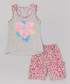 Loving this Fuchsia Leopard Heart Tank & Bermuda Shorts - Toddler & Girls on #zulily! #zulilyfinds