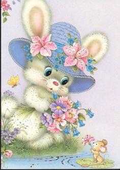 Rabbit and mouse Happy Easter, Easter Bunny, Bunny Drawing, Cross Stitch Pictures, Vintage Easter, Cute Illustration, Vintage Cards, Cute Art, Goblin