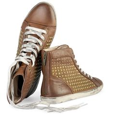 For the ladies -> Frye Dames Kira Studded High Top Sneaker Cognac