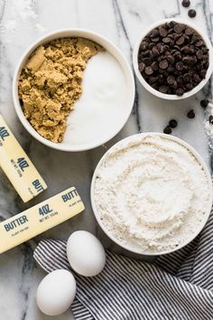 Ingredients for chocolate chip cookie baking