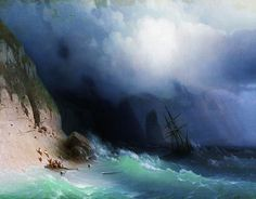 """ Marine Art of Ivan Konstantinovich Aivazovsky "" … This Century Russian Armenian artist is noted for the translucent waves in his paintings. No Wave, Illustration Art Nouveau, Art Watercolor, Russian Painting, Seascape Paintings, Love Painting, Oeuvre D'art, 19th Century, Fine Art"