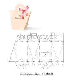 Retail Box with Blueprint Template - stock vector Diy Gift Box, Paper Gift Box, Diy Box, Cute Box, Pretty Box, Gift Card Displays, Paper Box Template, Diy Rangement, Origami Paper Art