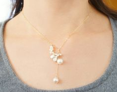 Japanese Pearl Necklace White Lariat Necklace Casual Wedding