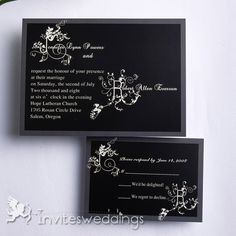 Contrasting Black Wedding Invitation IWI139