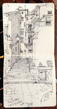 Holiday landscape sketching by concept artist Ian McQue at Via Palestro, Castigliane. Image taken from https://twitter.com/ianmcque More