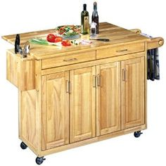 #10: Home Styles 5023-95 Wood Top Kitchen Cart with Breakfast Bar, Natural Finish