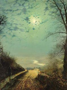 John Atkinson Grimshaw (6 September 1836 – 13 October 1893) was an English Victorian-era artist,    A Wet Road By Moonlight, Wharfedale