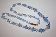 Vintage Necklace Blue White Crystal Glass  Bead 1950s by patwatty, $18.00