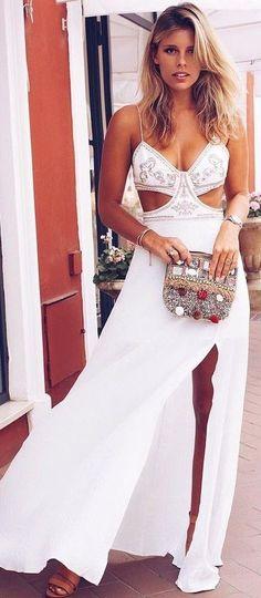 #summer #chic #feminine #style | White Maxi Dress