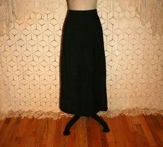 Black Skirt Black Midi Skirt Black Suede Skirt by MagpieandOtis