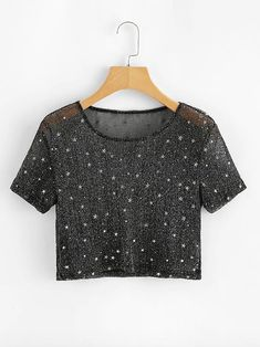 Shop Sheer Mesh Crop Tee at ROMWE, discover more fashion styles online. Cute Comfy Outfits, Classy Outfits, Trendy Outfits, Cool Outfits, Girls Fashion Clothes, Teen Fashion Outfits, Girl Fashion, Fancy Tops, Stylish Dresses For Girls