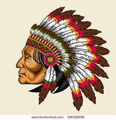Illustration about Indian warrior wearing feather headdress. Illustration of costume, indigenous, apache - 42383257 Red Indian Tattoo, Indian Chief Tattoo, Indian Headdress Tattoo, Indian Tattoo Design, Native American Tattoos, Native Tattoos, Native American History, American Indians, Tattoo Indio