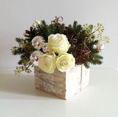 Birch Holiday Arrangement Silver Ivory Green by ArtsFloralDesign