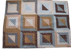 Patchwork Lap Quilt in Light Blues and Browns by Sieberdesigns