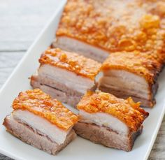 This is the best pork belly recipe I've made. The pork skin is incredibly crispy, perfectly golden, and the prep work is very minimal compared to all the other pork bellies I've made. No need to score or puncture holes in the skin.