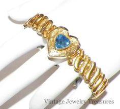 Vintage Sweetheart 10K Gold Filled Blue Rhinestone Expandable Bracelet